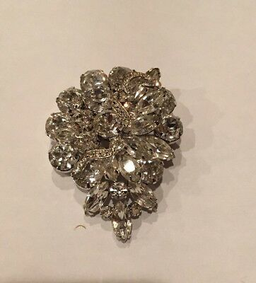 Vintage Huge Weiss Pin Brooch Clear Rhinestones Crystals Costume Jewelry