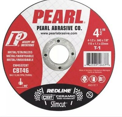 "(Pack of 25) Pearl Redline 4 1/2"" x .045 x 7/8"" Thin Cut-Off Wheels"