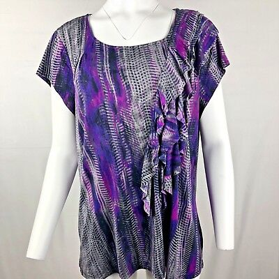 c4897bfc34f Worthington Women s stretchy Blouse top Size 3X Gray purple print ruffle  front