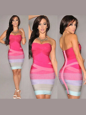 Women New Fashion Sexy Lady Sleeveless Colorful Cocotail Party Strapless Dress
