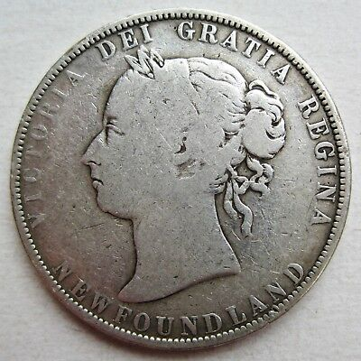 Newfoundland 1896 Queen Victoria 92.5% Silver Fifty Cents Coin (Km#6)