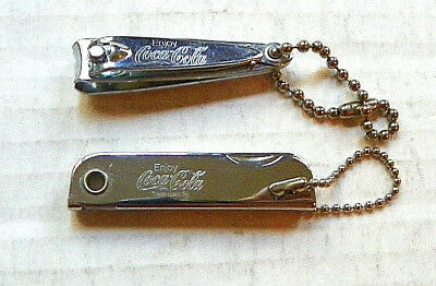 """(Lot Of 2 Items) """"enjoy Coca-Cola"""" Nail Clipper And Three Items Set Keychains"""