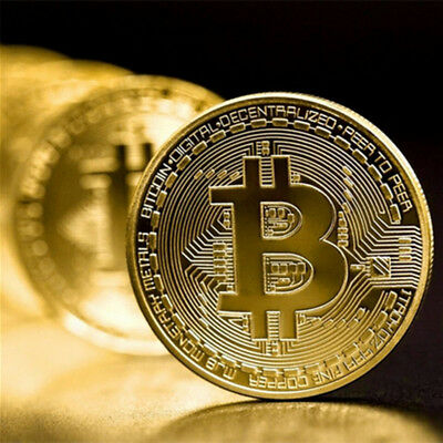 Bitcoin Commemorative Round Collectors Coin Bit Coin is Plated Gold Non-currency