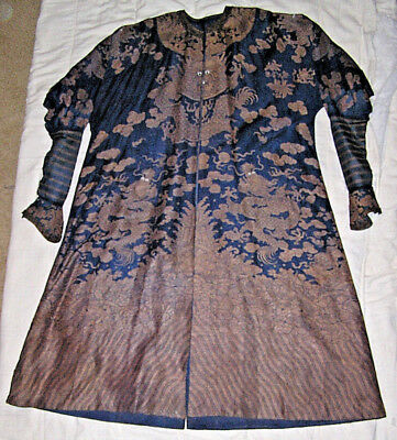 Vintage Chinese Dignitary Imperial Dragon Blue & Gold Silk Brocade Summer Robe
