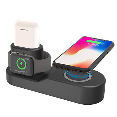 US 4in1 Qi Wireless Charger Fast Charging Dock For Apple Watch AirPods iPhone XS
