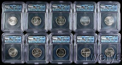 10 Piece Lot 2005-P & D Statehood Quarter Dollars First Strike Icg Sp 69