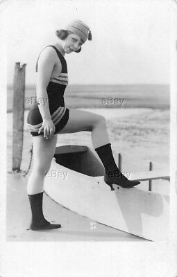 Rppc Postcard Art Deco Photo Flapper Girl Risque Bathing Beauty Heels Beach Suit