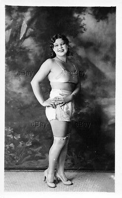 Rppc Postcard Art Deco Photo Flapper Girl Risque Ethnic Thick Bra Hose Heels Old