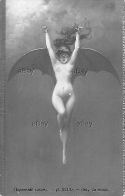 Rppc Postcard Vintage Russian Nude Artwork Female Bat Wing Girl Vampire Penot Pc