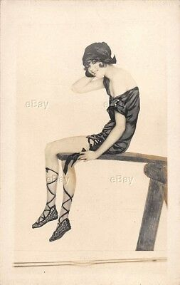 Rppc Postcard Art Deco Photo Flapper Girl Risque Picture Of Original Artwork Old