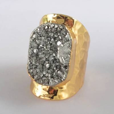 Size 6.5 Natural Agate Titanium Druzy Ring Gold Plated H123827