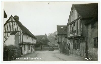 RPPC - Lavenham, Suffolk, England, View of Early Auto at End of Street - C.1920