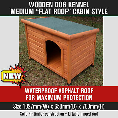 Wooden Dog Pet Cat Puppy Kennel Medium Flat Roof Cabin Style