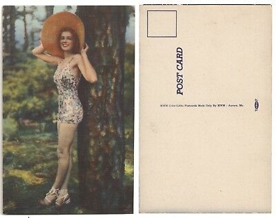 Antique Postcard - Risque Woman in Tight Outfit w/ Large Hat Posing in Woods
