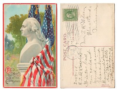 1910 Veenfliet Patiotic Postcard Washington First in Hearts of his Countrymen