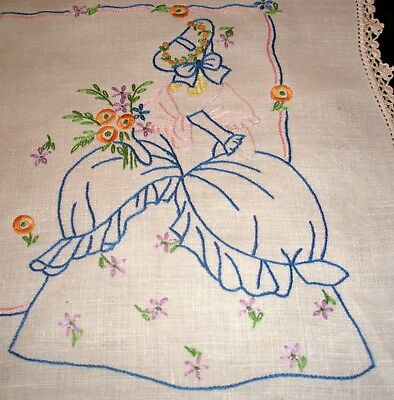 Crinoline Lady Table Centre Doily Hand Embroidered GVC