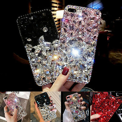 For iPhone X 6 7 8 Plus Bling Diamond Crystal Rhinestone Hard TPU+PC Case Cover