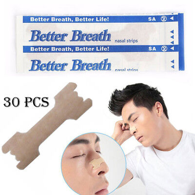 30Pcs Better Breath Nasal Strips Med Anti Snoring Sleep Right Aid Stop Snore YA9