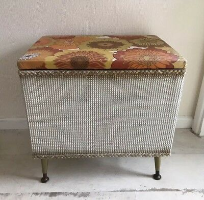 Vintage Lloyd Loom Style Wicker Laundry / Storage Basket On Retro Legs