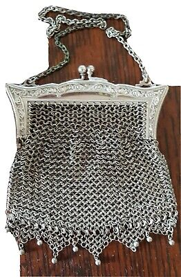 ANTIQUE VETERAN VINTAGE, VERY EARLY 1900's GERMAN SILVER MESH PURSE Model T Ford