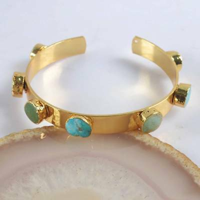 FNatural Genuine Turquoise Bangle Gold Plated H123887