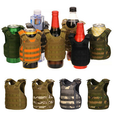 Camo Tactical Style Vest Beer Beverage Water Bottle Cup Holder Pouches Novelty