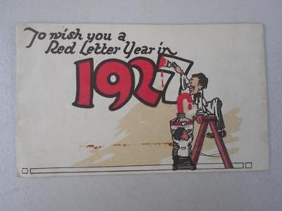 1927 Quirky Christmas card Price Berry employees fold out image At Your Service