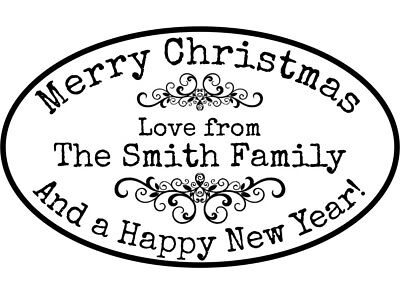 Personalised Christmas Rubber Stamp + Free Ink Pad