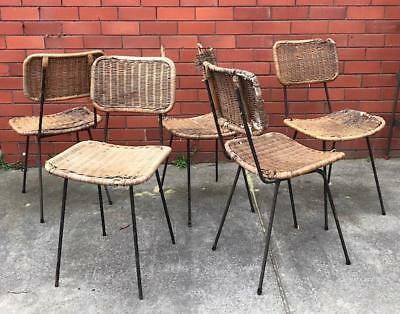 5x VINTAGE 1950s METAL CHAIRS - RETRO MEADMORE OUTDOOR PATIO MID-CENTURY PROJECT