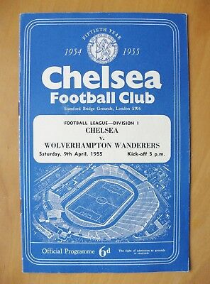 CHELSEA v WOLVES 1954/1955 *Excellent Condition Football Programme*