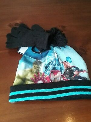 Brand New Boys Avengers Hat And Gloves Set Age 4-8 Years