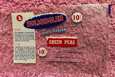VINTAGE Sennits Bear HOLMESGLEN Green Peas Packet Label Milk Bar Shop Sign MELB