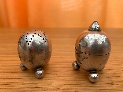 ART DECO SILVER PLATE SALT AND PEPPER POTS Atomic Retro Rocket Style