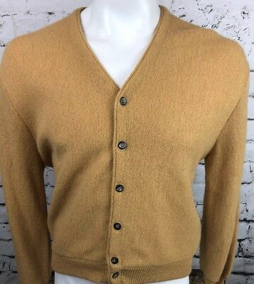 Robert Bruce Medium Sweater Arnold Palmer Vtg Beige Alpaca Wool Cardigan (68)