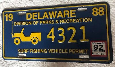 1988 Delaware Div. Parks & Rec. Surf Fishing License Plate Tag Vehicle Permit