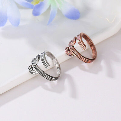 Silver Color Fashion Cactus Open Rings Adjustable Knuckle Jewelry Gift B