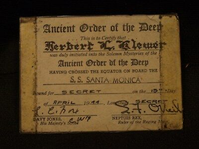 1944 WWII Ancient Order Of The Deep SS Santa Monica Sailors Cross Equator Card
