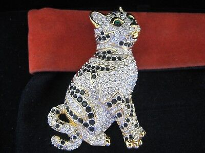 Swarovski Swan Signed Clear Crystal & Black Cat Brooch Pin New
