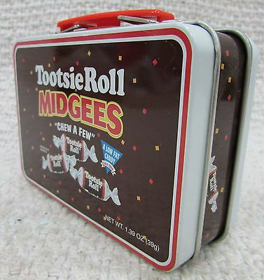 "Tootsie Roll Midgees Empty 4"" Tin Metal Suitcase Mini Lunchbox FREE S/H"