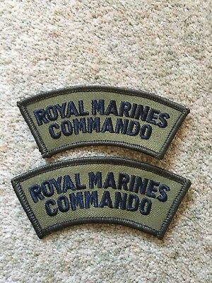 2 NEW Royal Marines Commando Black and Olive Green Shoulder Flashes / Titles