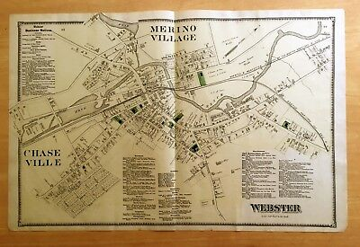 Original 1870 Map MERINO VILLAGE Chaseville WEBSTER,MA Massachusetts BEERS 2-Pg