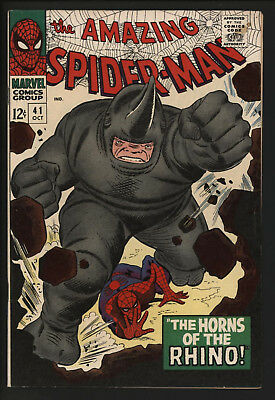 AMAZING SPIDER-MAN #41,1st APPEARANCE THE RHINO. FANTASTIC HIGH GRADE VF+ CENTS