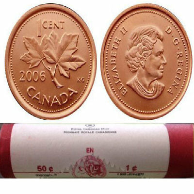 2006 Canadian Penny 1 Roll 50 Coins non Magnetic