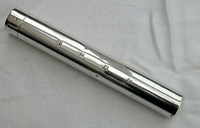 Fine English Solid Silver Single Cigar Tube Holder 1973