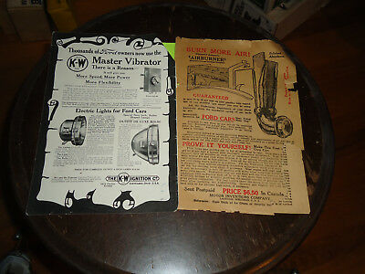 Early K-W Vibrator & Light and Airburner for Model T Ford Magazine Ads