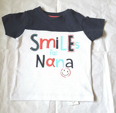 Baby Unisex Smiles With Nana Short Sleeve T-Shirt Top 6 9 12 24  Mths Bnwt
