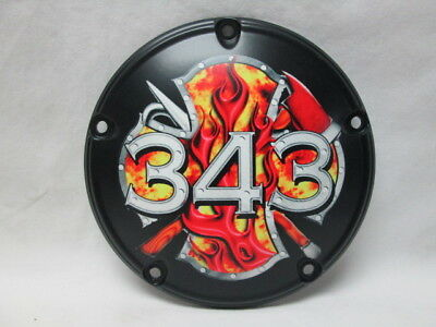 Harley Davidson Custom 5 Hole Derby Cover - 343 Firefighters