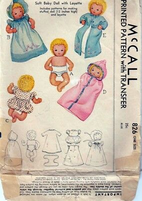 ORIGINAL Vintage 1940 McCall 826 - Soft Baby Doll with Layette