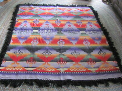 Beautiful 1950's mid century cotton Indian camp blanket with fringe bright color