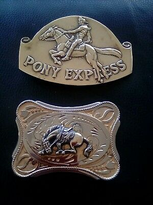two belt buckles, both brass colour,both horse themed,please see pics